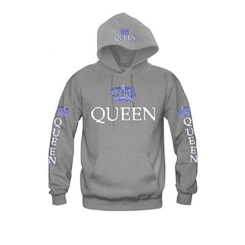 ZOGAA Women Hoodies Printed Queen Letter Casual Long-sleeved Sweatshirt Hooded Hoodie for Couple Brand Pullovers Hoodies Women