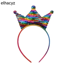 1PC New Kids Reversible Sequin Crown Hairband Boutique Children  DIY Party Headband Photograply Headwear Hair Accessories
