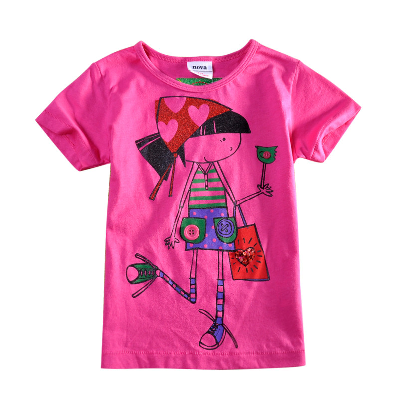 KF1500 baby girl clothes kids girls short sleeves t shirt fashion casual carton wears for girls baby children o-neck clothes