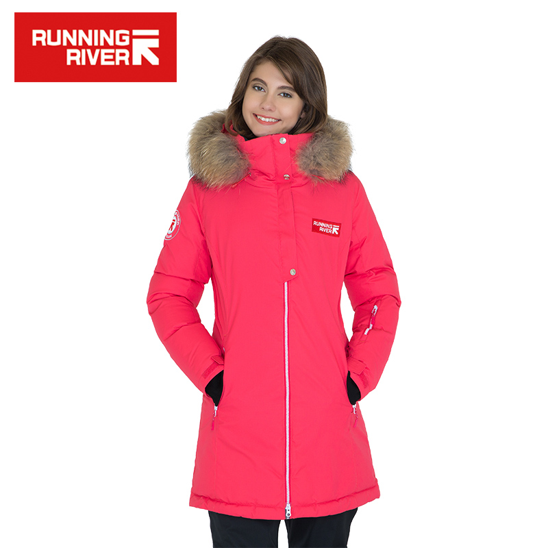 RUNNING RIVER Brand Women Hooded Mid-thigh Outdoor Jacket 5 Colors 5 Sizes High Quality Winter Down Jackets For Woman #D6155 running river brand men hooded ski jacket for winter 4 colors 6 sizes high quality outdoor sports jackets for man a6026