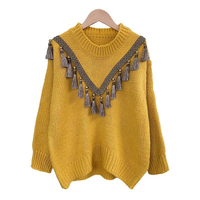 H.SA 2018 Autumn Tassels Knitted Pullover Sweater Women Chis Streetwear Yellow pullover Winter Loose casual pullover outwear