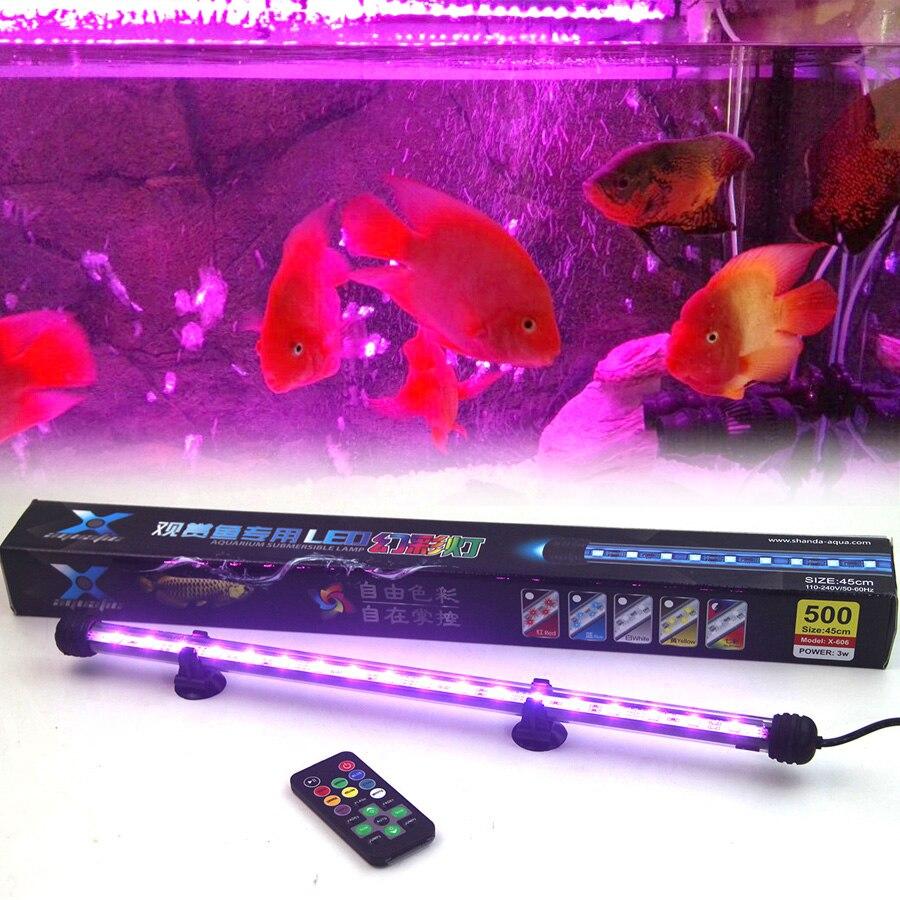 Alta calidad 25-55 cm remoto colorido LED acuario luz Fish Tank Coral lámpara 5050 RGB luces sumergibles envío libre