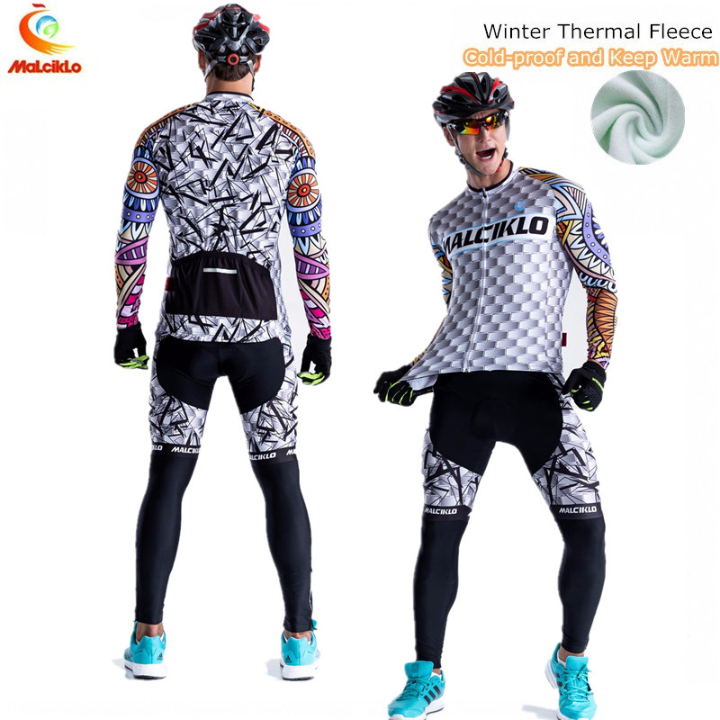 Malciklo Brand Winter Thermal Fleece Cycling Clothing Sets Pro Team Bike Downhill Jersey Skinsuit MTB Wear Roupas De Ciclismo 2016 new arrivals hot men s cube cycling thermal fleece jersey bib pants sets pro team mtb bicycle clothing bicicleta bike k0709