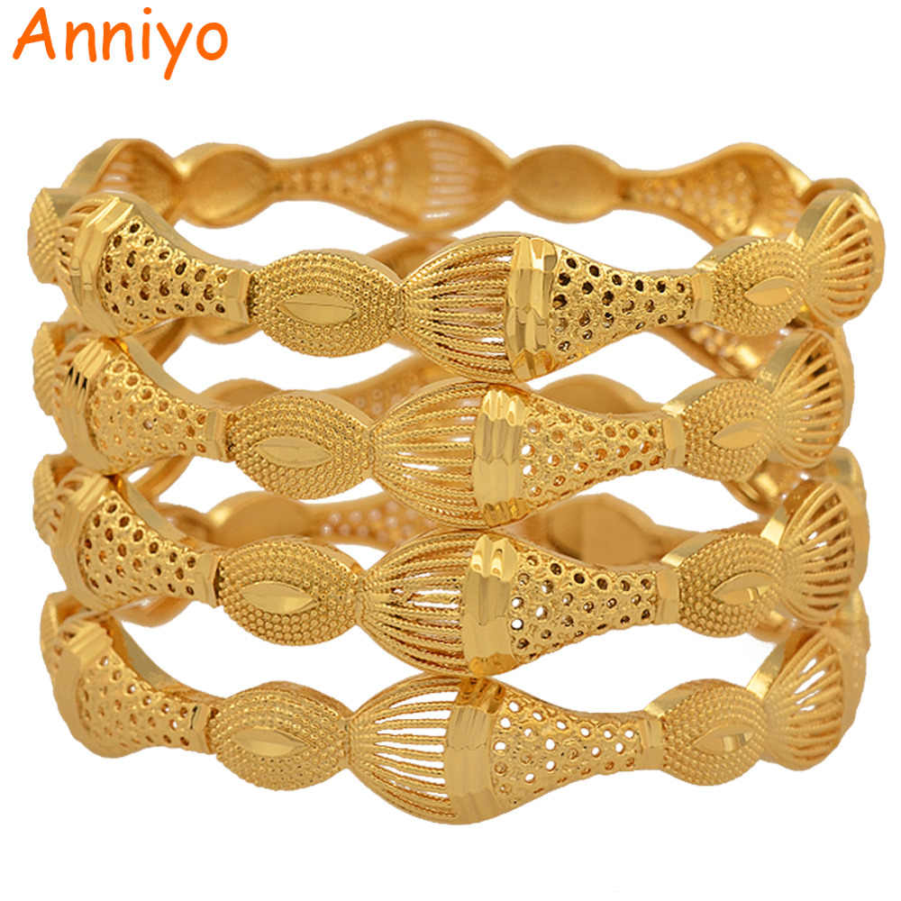 Anniyo 4 Pieces/Lot Gold Color Bangle for Women Ethiopian Bracelets Middle East Dubai Wedding Jewelry African Gifts #086506