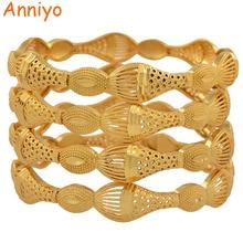 Gold-Color Bangle Ethiopian-Bracelets Wedding-Jewelry Dubai African-Gifts Women 4pieces/Lot