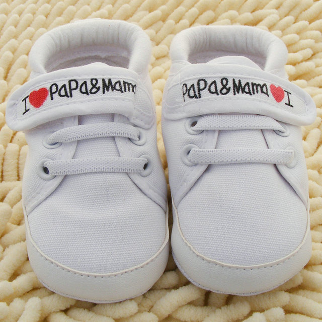 Baby Shoes I Love PaPa&MaMa Letter Printed Soft Bottom Footwear Heart-shaped 0-18M Newborn First walker 1