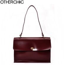 9b8f0b4f0f OTHERCHIC Burgundy Vintage Women Shoulder Bags Solid Big Soft All Match  Brand Designer Handbag Fashion Women Briefcase L-7N08-58