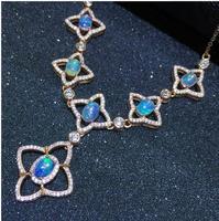 Натуральный опал ожерелье Бесплатная доставка натуральной Изумрудный 925 серебро