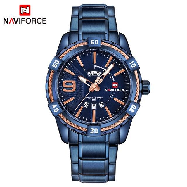 Naviforce Fashion Brand Waterproof Calendar Stainless Steel Men Quartz Watches 1
