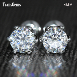Transgems 14 K 585 White Gold 0.5ctw 4mm Lab Gemaakt Moissanite Diamond Stud Oorbellen Push Back Voor Vrouwen Verjaardag gift