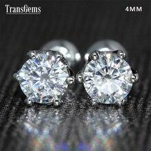 Transgems 14K 585 White Gold 0.5ctw 4Mm Lab Gemaakt Moissanite Diamond Stud Oorbellen Push Back Voor Vrouwen Verjaardag gift