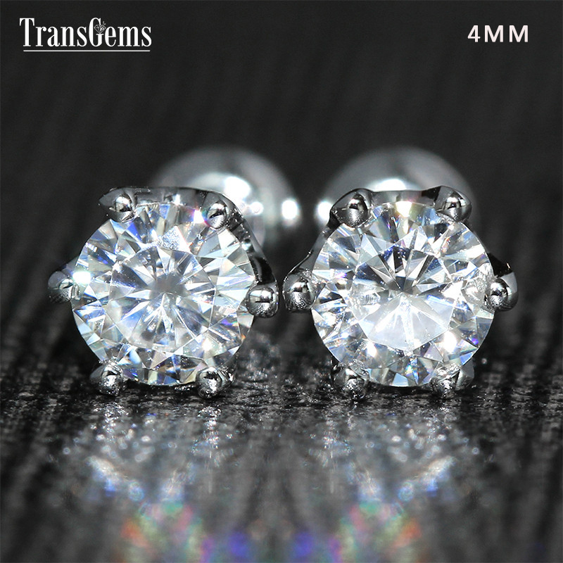Transgems 14K 585 White Gold 0.5ctw 4mm Lab Created Moissanite Diamond Stud Earrings Push Back For Women Birthday Gift