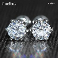Transgems 14K 585 White Gold 0.5ctw 4mm Lab Created Moissanite Diamond Stud Earrings Push Back For Women Birthday Gift