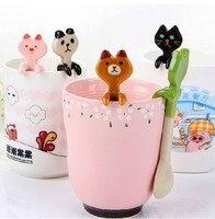 Cute Kids Cartoon Porcelain Tea Coffee Milk Honey Yogurt Rice Spoons Ice Cream Balls Soup Ladle