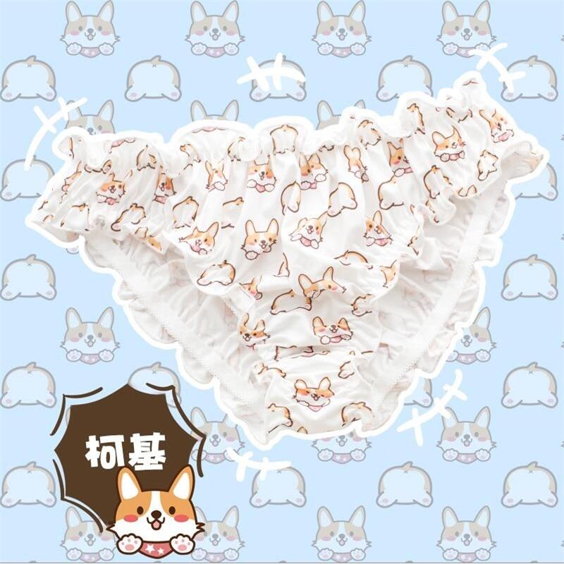 Kawaii Women's Japanese Lolita Panties Anime Cute Corgi Printing Comfortable Ruffle Free Size Short Briefs Intimates Underpants