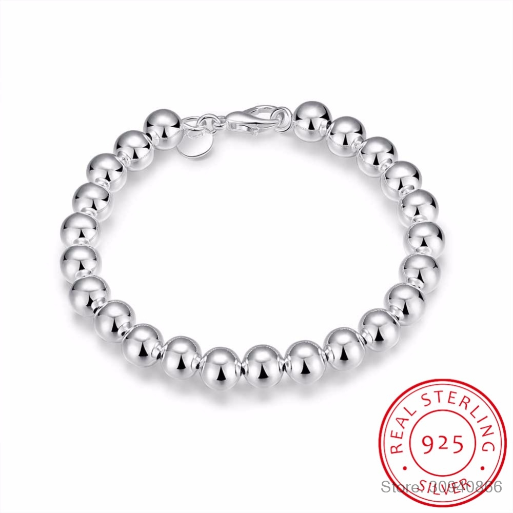 Hot Style 925 Silver Fine Jewelry 8mm Hollow Silver Beads Bracelet 925 Silver Jewelry Woman 1Pcs Free Shipping