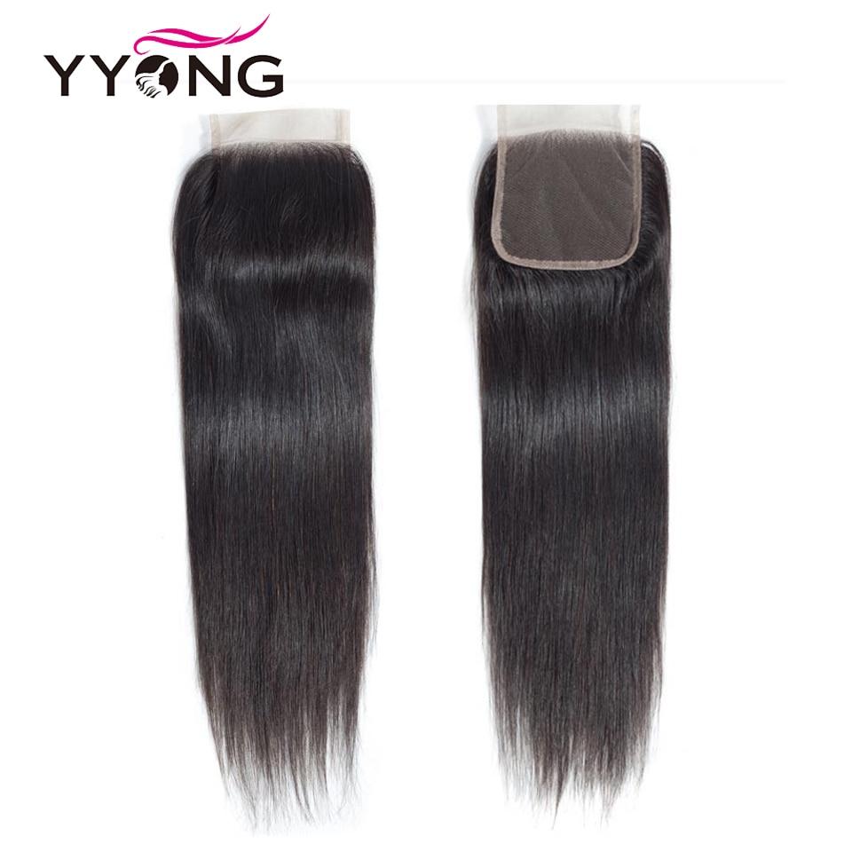 Yyong Brazilian Straight Hair Lace Closure Free Middle Three Part 100 Remy Human Hair 4X4 Medium