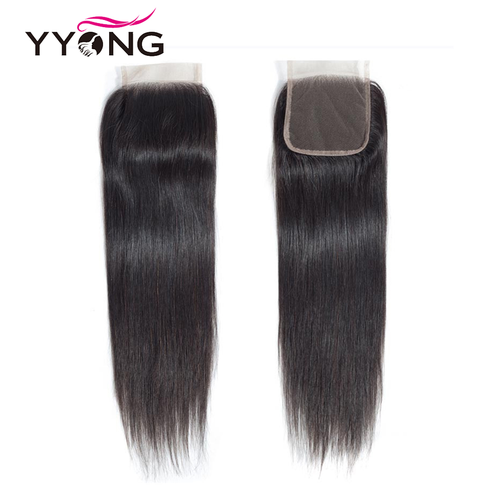 Yyong Brazilian Straight Hair Lace Closure Free/Middle/Three Part 100% Remy Human Hair 4X4 Medium Brown Swiss Lace Top Closure-in Closures from Hair Extensions & Wigs