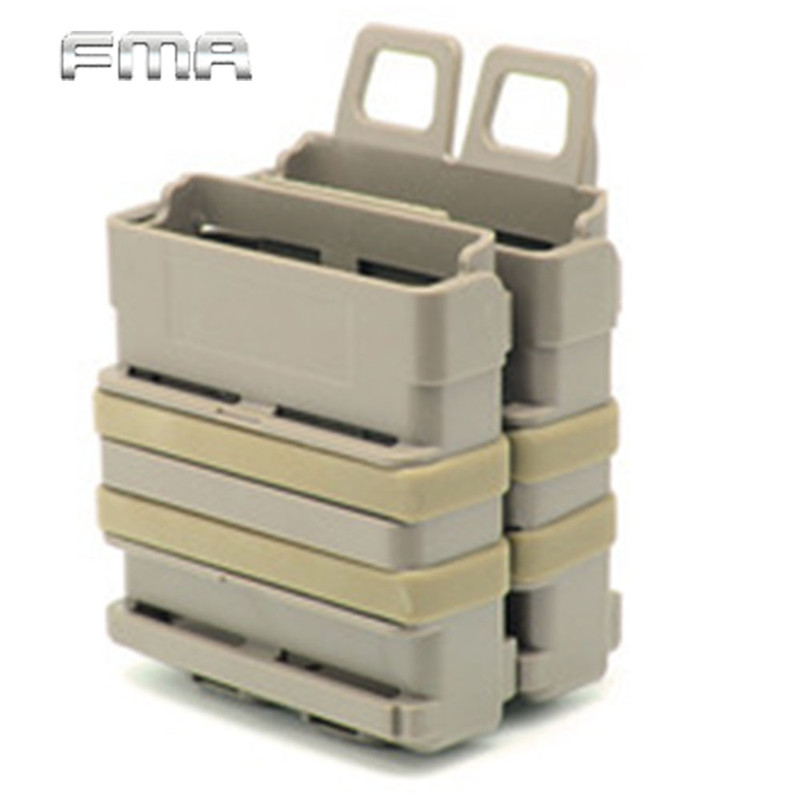 FMA Airsoft Rifle 5.56 Mag M4 Magazine Fast Attach Tactical Pouch Molle System Module Combination Two Holder Magazine Pouches