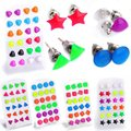 Lots 12 Pairs Mix Color Triangle/Star/Heart Shape Glow In Dark Luminous Ear Studs Earrings For Women Fashion Jewelry Wholesale