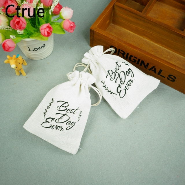 Ctrue 1pc 10x15cm Best Day Ever Burlap Jute Candy Bag Gift Bags