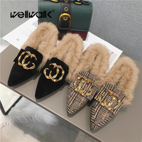 Plaid Shoes Women Winter Fur Loafers Luxury C C Buckle Furry Ballet Flats Ladies Slip On Moccasin Shoes Casual Flats Pointed Toe