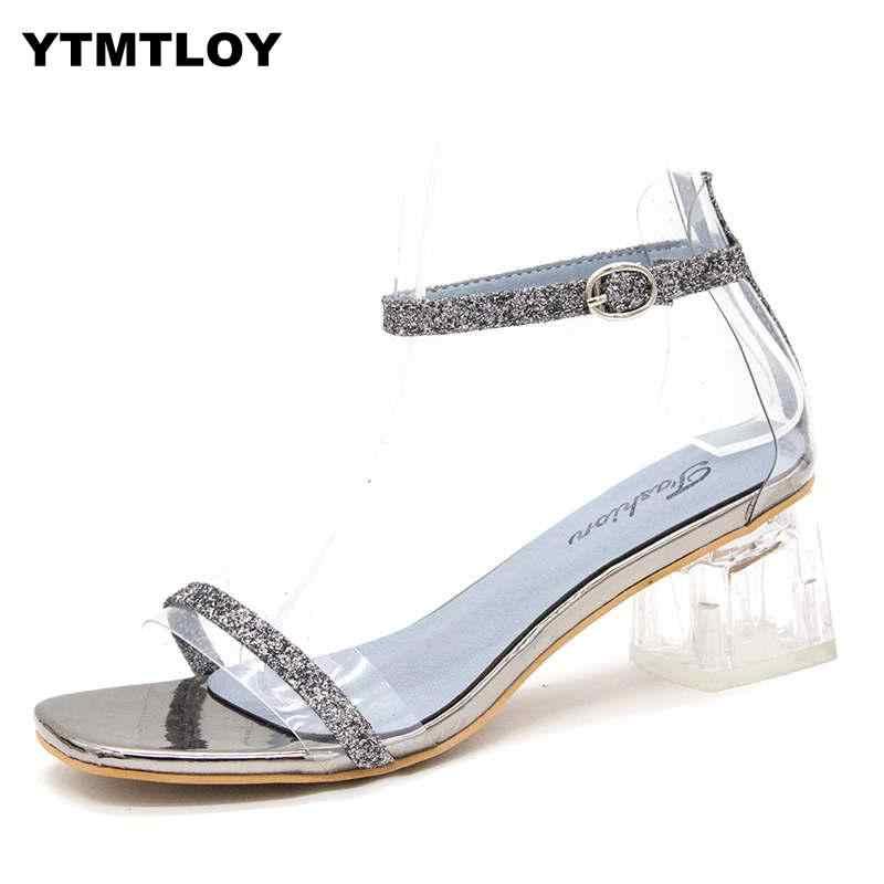SıCAK Açık Topuklu Yüksek 2019 Kadın Sandalet Yaz Ayakkabı Şeffaf Pompalar Düğün Jöle Buty Damskie Ayak Bileği Kayışı Kare Pvc Topuklu
