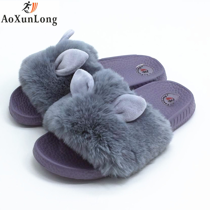 Winter Slippers Women Plush Cute Rabbit Ears Indoor Home Slippers Spring Gray Black Women Shoes Size 36-41 Shoes Woman pantufa 9 2017 new fashionable cute soft black grey pink beige solid color rabbit ears bow knot turban hat hijab caps women gifts