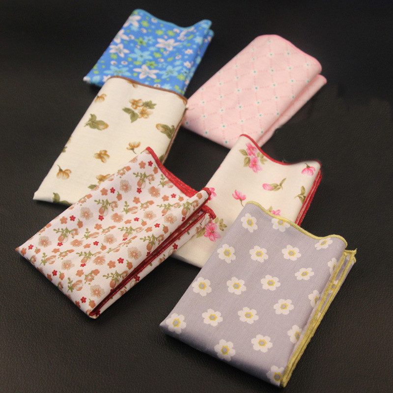 Mantieqingway Floral Dot Handkerchiefs Wedding Or Party Cotton Pocket Square Towel Bright Color For Mens Suit  Women Hanky
