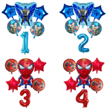 6pcs Super Hero Spiderman Avengers Batman Foil Balloon Children Birthday Party Supplies 30Inch Number Baby Superman Toys