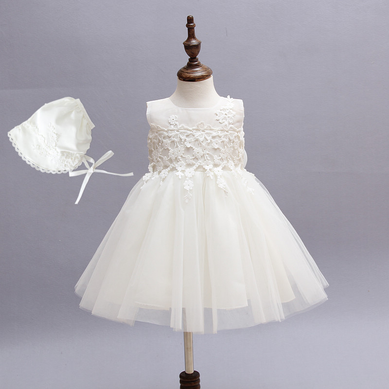 0-18M 2pcs Baby Dresses With Hat Solid White Sleevless Vestido Baby Clothing For 1 Year Birthday Party And Christmas SKF154708