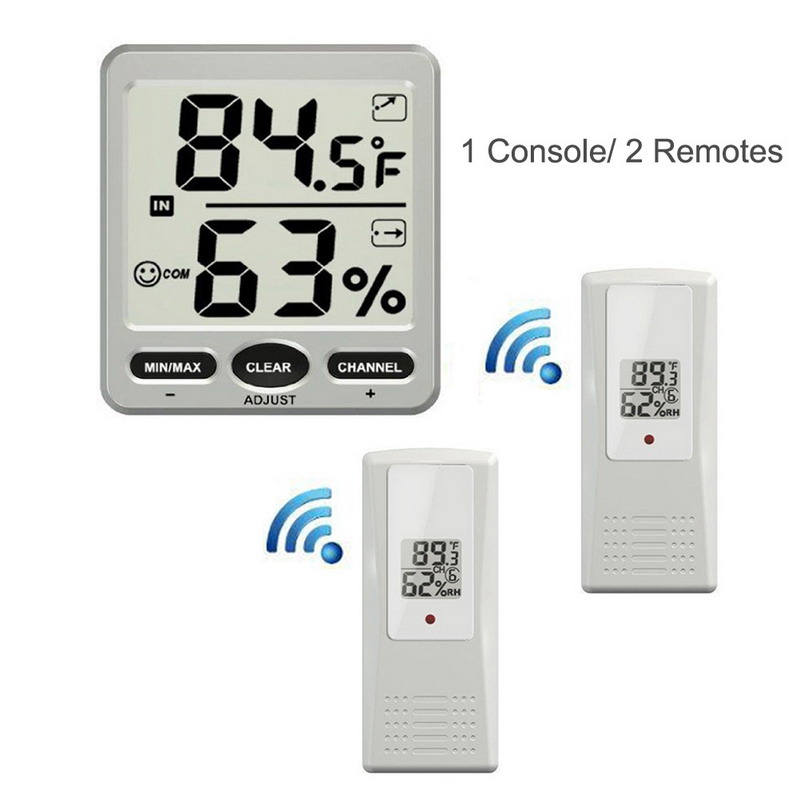 LCD Thermostat Digital 433MHz Wireless 8-Channel Indoor/Outdoor Thermo-hygrometer + Three Remote Sensors Thermometer Hygrometer dc803 4 lcd digital indoor