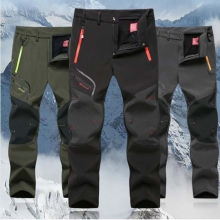 Зимние мужские брюки-карго с эластичной талией, флисовые брюки для путешествий, водонепроницаемые ветрозащитные теплые мужские брюки