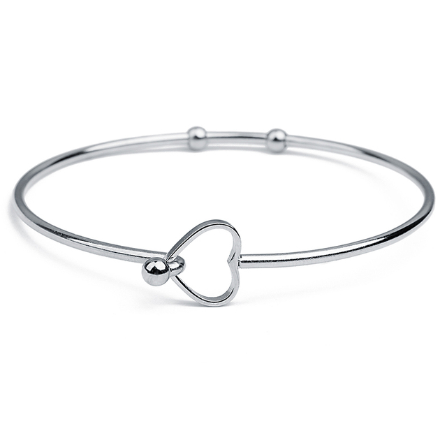 Xinyao 2pcs Lot 2018 New Stainless Steel Love Heart Wire Bangle Bracelet Female Cute Open