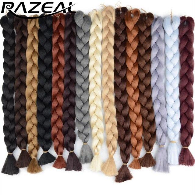 Razeal 36'inch 110g Kanekalon Jumbo Braiding Hair Synthetic Crochet Hair Extensions Jumbo Braids For African Black Women
