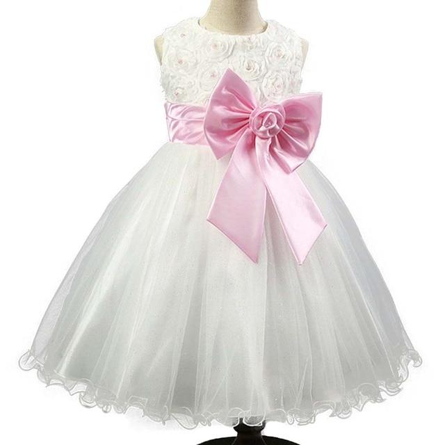 Flower Girl Wedding Dress Girls Dresses Summer 2016 Children Bow Princess Dress Girl Party Evening Dress Kids Clothes Vestidos