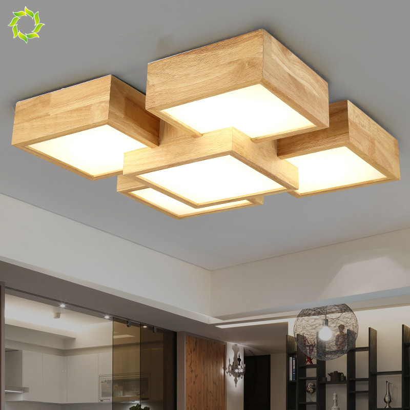 Creative Bedroom Lamp Japanese Style Solid Wood Ceiling ...