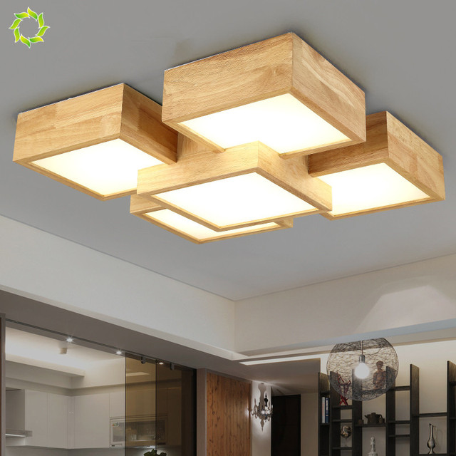 Creative Bedroom Lamp Japanese Style Solid Wood Ceiling