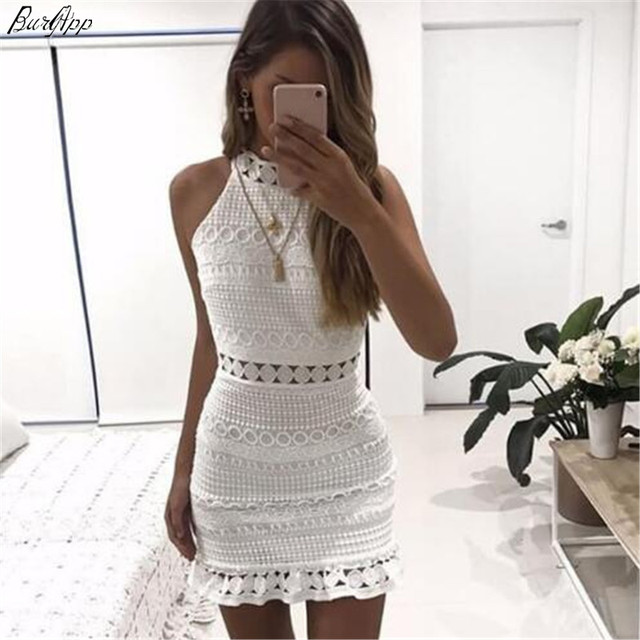 2018 New sexy Vintage hollow out lace dress women Elegant sleeveless white dress summer chic party sexy mini dress vestidos 2XL