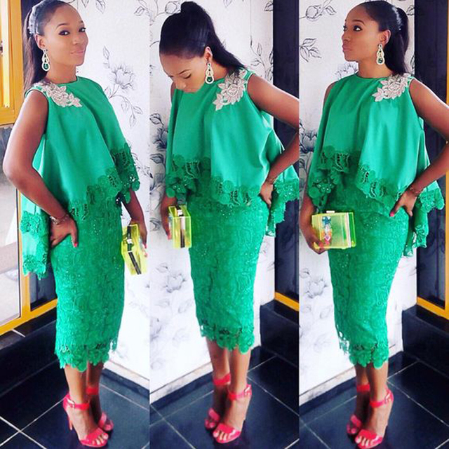 Fashion Green African Women Evening Party Dress With Cape Appliques ...