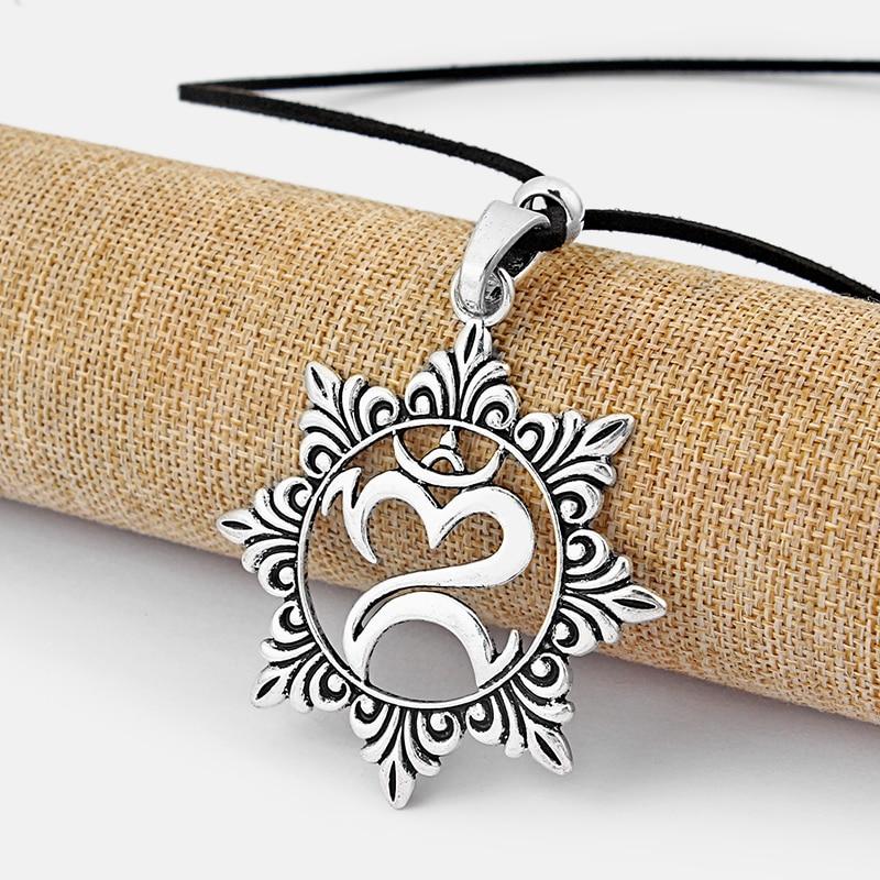 1pcs Antique Silver Large Largenlook OM OHM YOGA Symbol Pendant Long Faux Suede Velvet Leather Cord Necklace Collier Jewelry