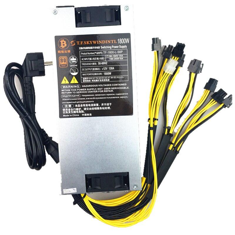 1800W psu 12v power supply Platinum Antminer APW3 Mining Power Supply for Antminer Miner mining rig A6 A7 ANT asic S9 T9 S7 L3