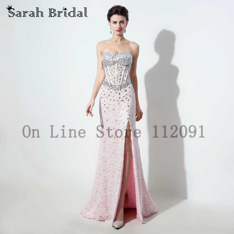 Luxury Crystal Sweetheart Mermaid Evening Dresses Pink Lace Corset ...