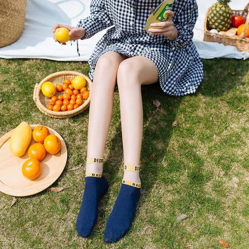 USEEMALL 5Pcs / lot Fashion Women Socks with Letters Vår Sommar - Damkläder - Foto 5