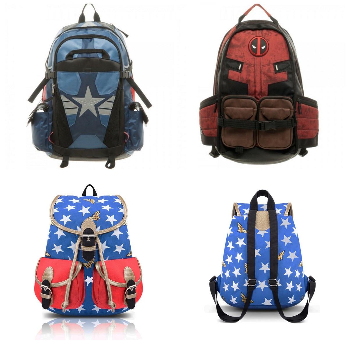 DC Comics Magical Woman Deadpool Captain America Backpack Birthday Gift Male Woman Package Knapsack School Travel Satchel