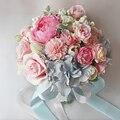 2 цвета голубой искусственные свадебные букеты 2016 моделирование пластиковые роуз, Романтический свадебный букет свадебные украшения P12