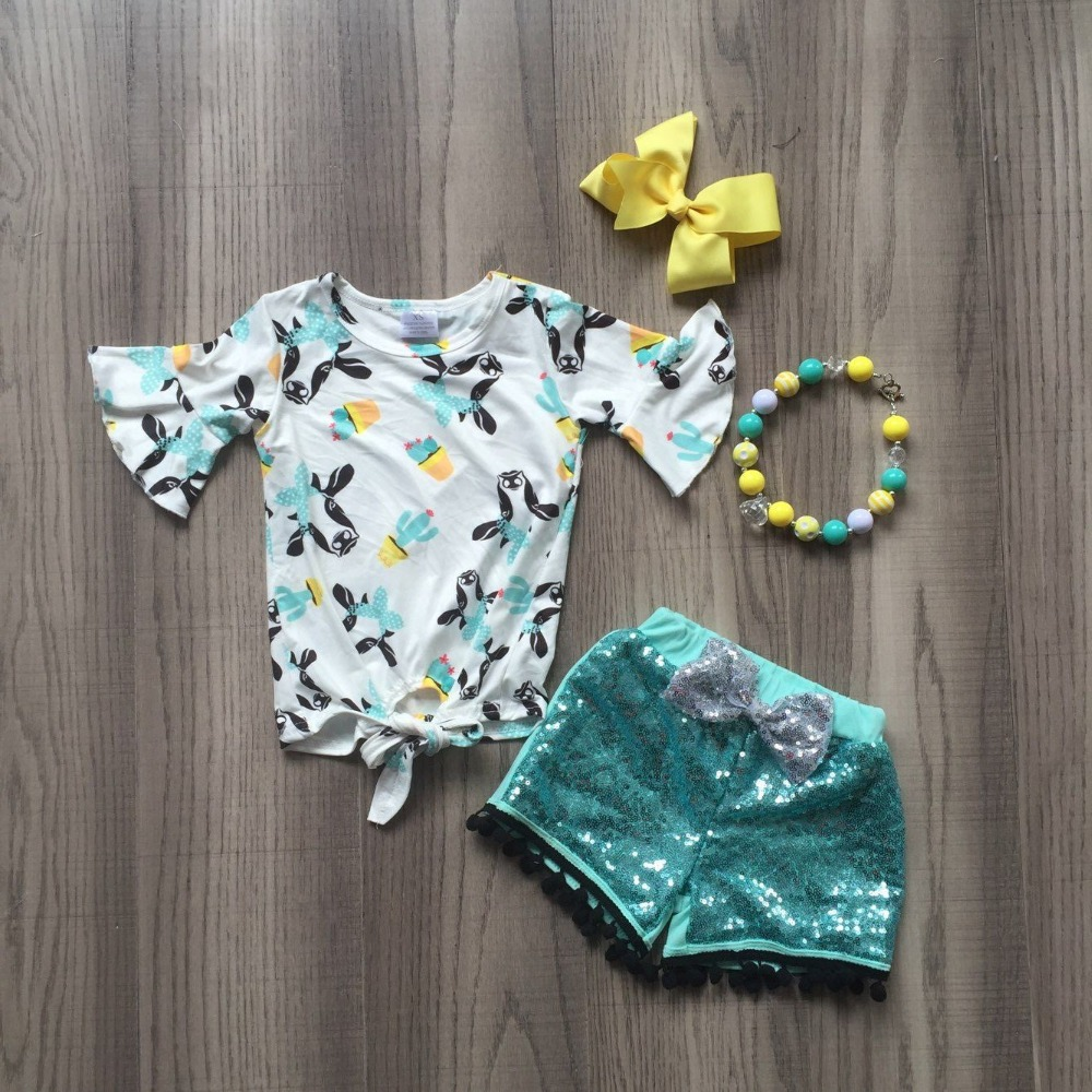 baby girls summer new arrival outfits milk cow head top shirt blue shining pants outfits girls boutique clothes with accessoriesbaby girls summer new arrival outfits milk cow head top shirt blue shining pants outfits girls boutique clothes with accessories