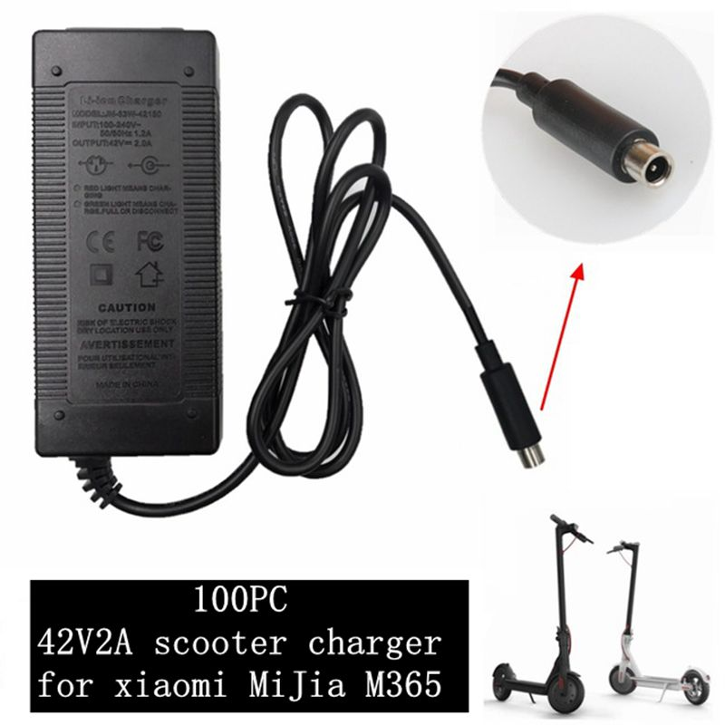 100 pc best price 42 V 2A electric Skatebaord adapter Scooter charger for Xiaomi Mijia M365 Scooter Electric bicycle accessories