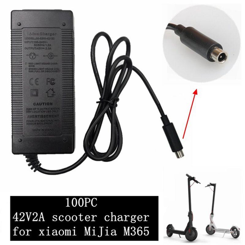 100 pc melhor preço 42 V 2A Skatebaord adapter carregador para Xiaomi Mijia M365 Scooter Scooter elétrico acessórios da bicicleta Elétrica