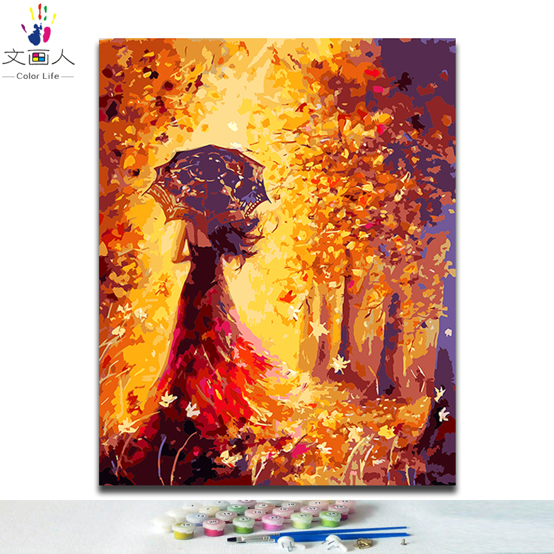 DIY Paints by numbers with kits Elegant girl pictures paintings by numbers figure abstract Golden Fantasy forest hoom wall decor